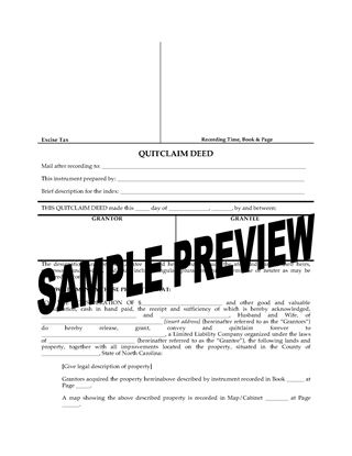 Picture of North Carolina Quitclaim Deed to Transfer to LLC