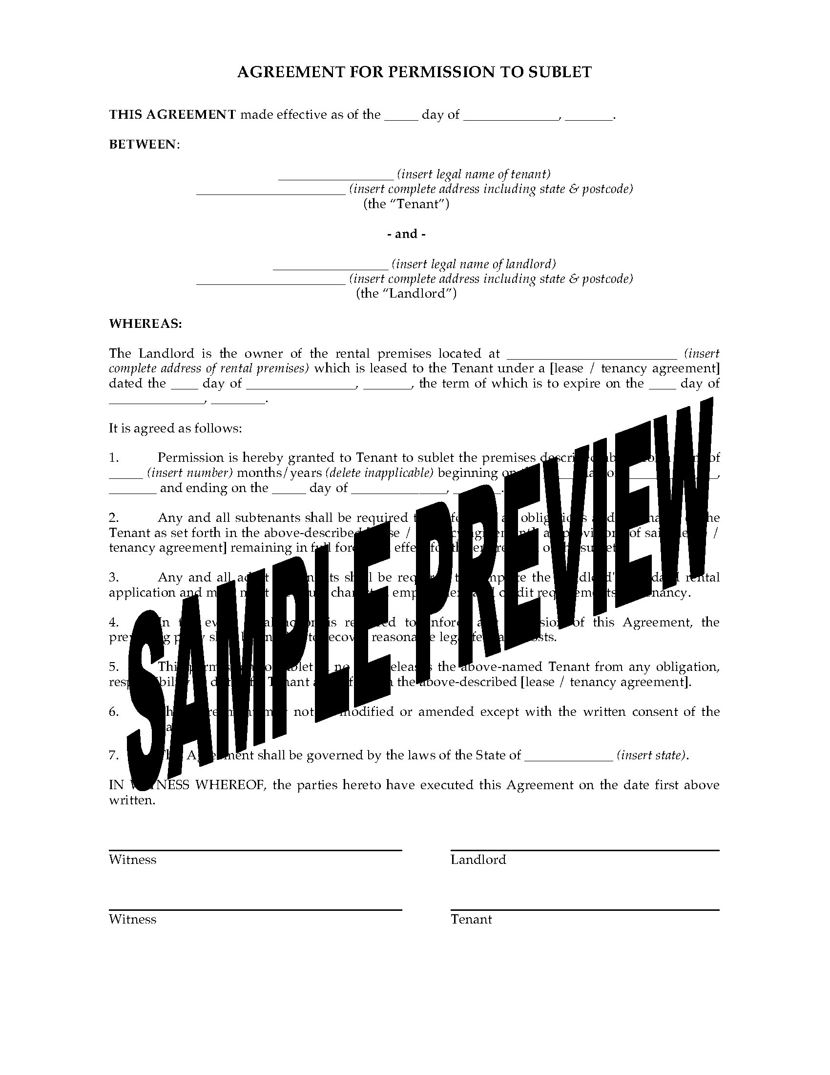 South Australia Agreement For Permission To Sublet Legal Forms And