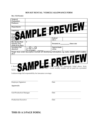 Picture of Kit Rental and Vehicle Allowance Forms