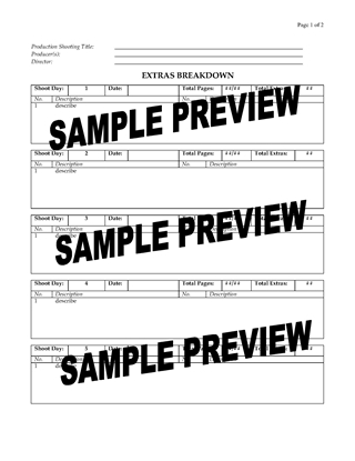 Picture of Extras Breakdown Sheet for Film Production