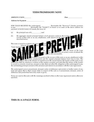 Picture of Promissory Note for Multiple Advances | Canada