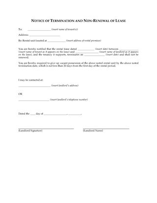 Picture of Washington Notice of Termination by Landlord and Non-Renewal of Lease