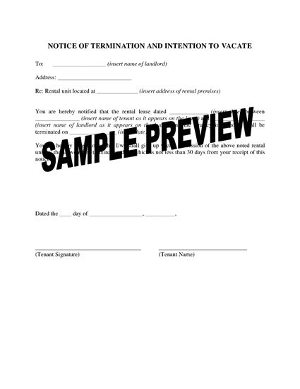 Picture of Washington Notice of Termination by Tenant