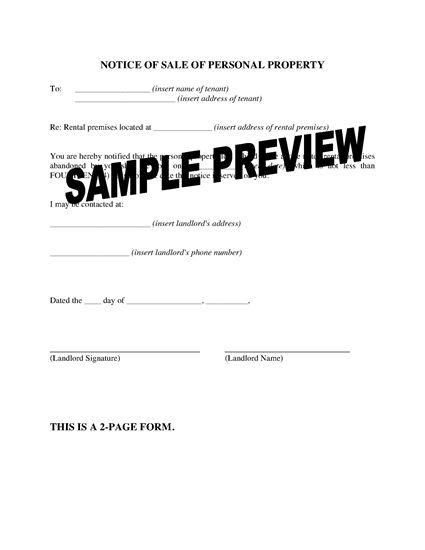 Picture of Minnesota Notice to Tenant of Sale of Personal Property