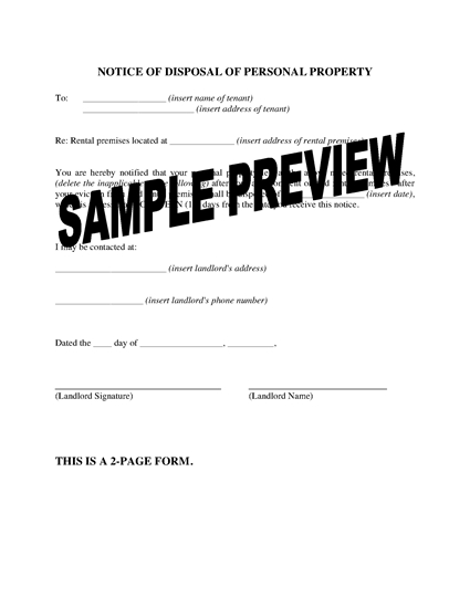 Picture of Nevada Notice of Disposal of Personal Property
