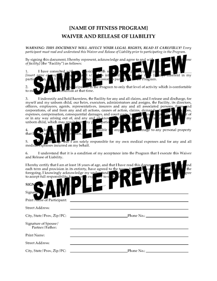 Picture of Fitness Program Waiver and Release for Pregnant Women