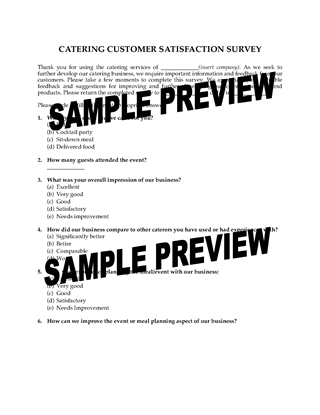Picture of Catering Customer Satisfaction Survey