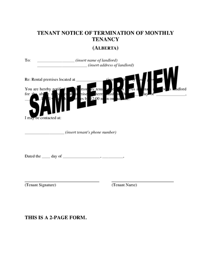Picture of Alberta Notice of Termination by Tenant (Monthly)