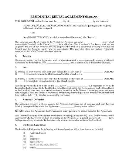 Picture of Indiana Rental Agreement for Residential Premises