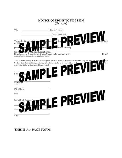 Picture of Nevada Notice of Right to File Lien
