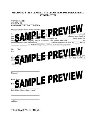 Picture of Virginia Mechanic's Lien Claimed by Subcontractor for General Contractor