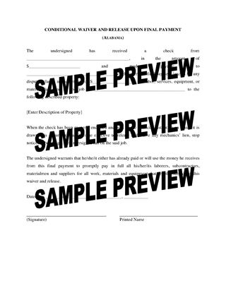 Picture of Alabama Lien Waiver and Release Forms Package
