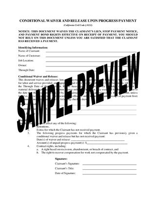 Picture of California Lien Waiver and Release Forms