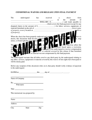 Picture of Colorado Lien Waiver and Release Forms Package