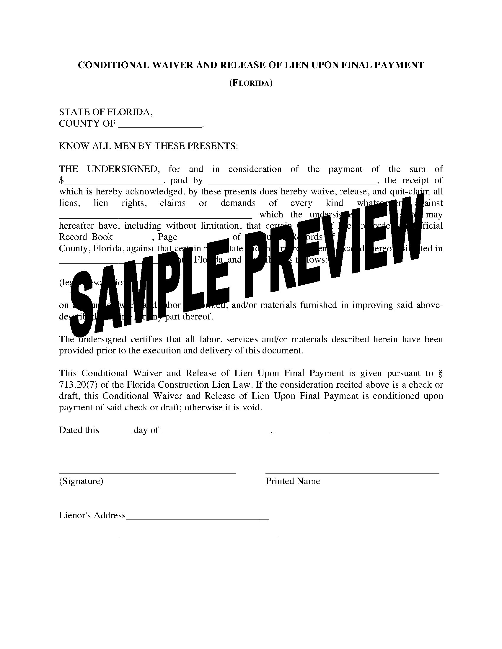 Conditional Release Forms   Florida Lien Waiver And Release Forms Legal Forms And Business