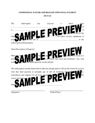 Picture of Hawaii Lien Waiver and Release Forms Package