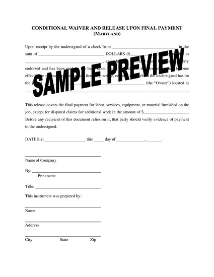 Picture of Maryland Lien Waiver and Release Forms Package