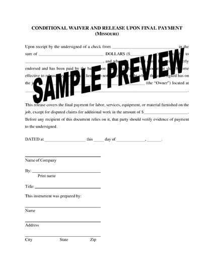 Picture of Missouri Lien Waiver and Release Forms Package