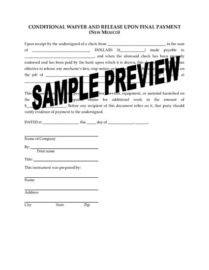 New Mexico Lien Waiver And Release Forms Package Legal Forms And Business Templates Megadox Com