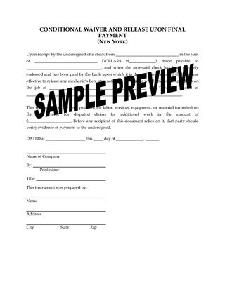 Picture of New York Lien Waiver and Release Forms Package