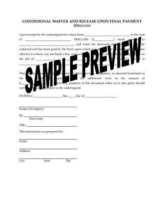 Picture of Oregon Lien Waiver and Release Forms Package