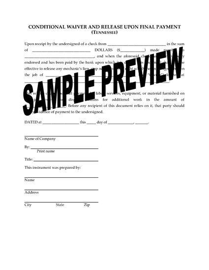 Picture of Tennessee Lien Waiver and Release Forms Package