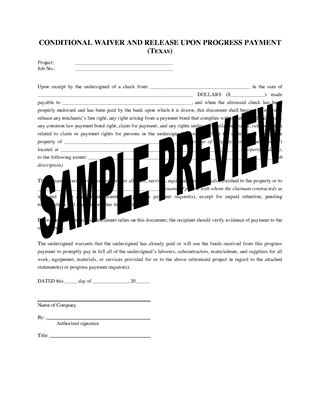 Picture of Texas Lien Waiver and Release Forms Package