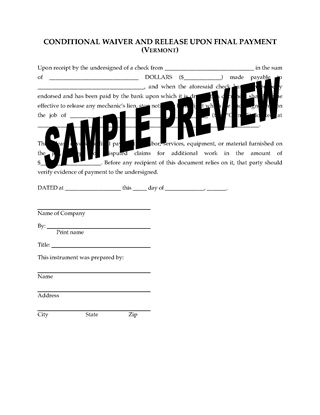 Picture of Vermont Lien Waiver and Release Forms Package
