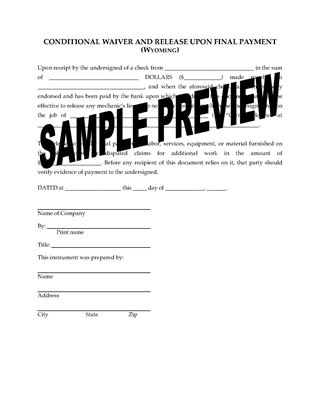 Picture of Wyoming Lien Waiver and Release Forms Package