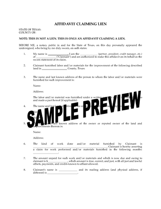 Picture of Texas Affidavit Claiming Lien