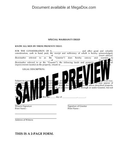 Picture of Arkansas Special Warranty Deed