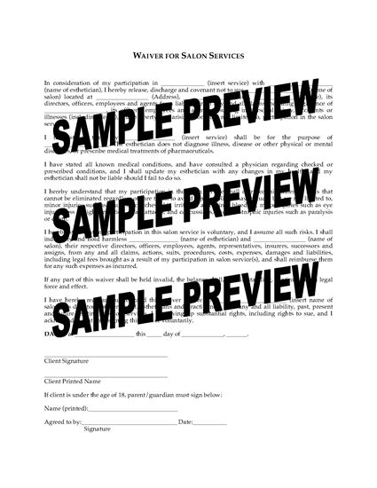 Picture of Waiver for Spa and Salon Services | USA