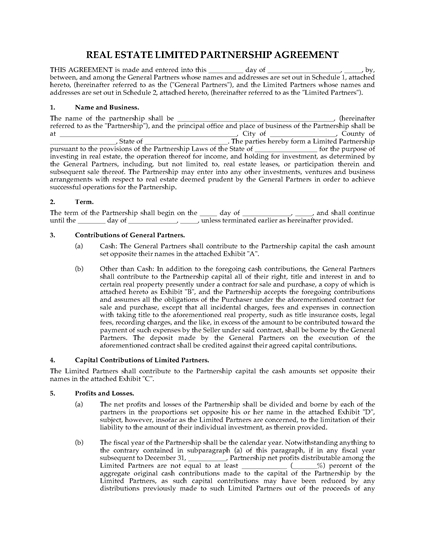 Picture of Real Estate Limited Partnership Agreement   USA