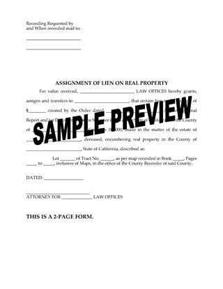 Picture of California Assignment of Lien on Real Property