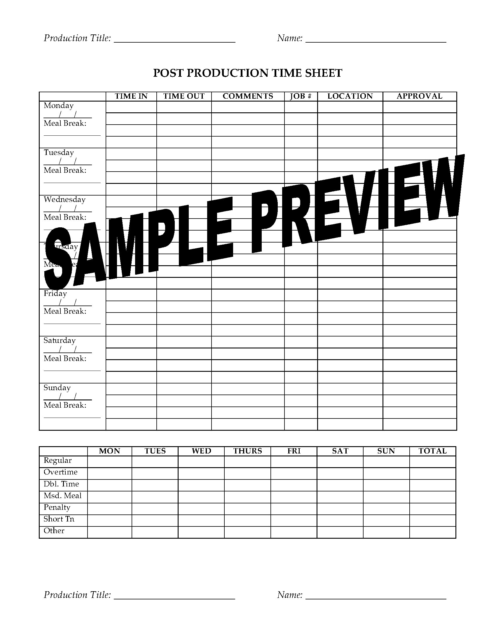 post production time sheet for film shoot legal forms and business templates. Black Bedroom Furniture Sets. Home Design Ideas