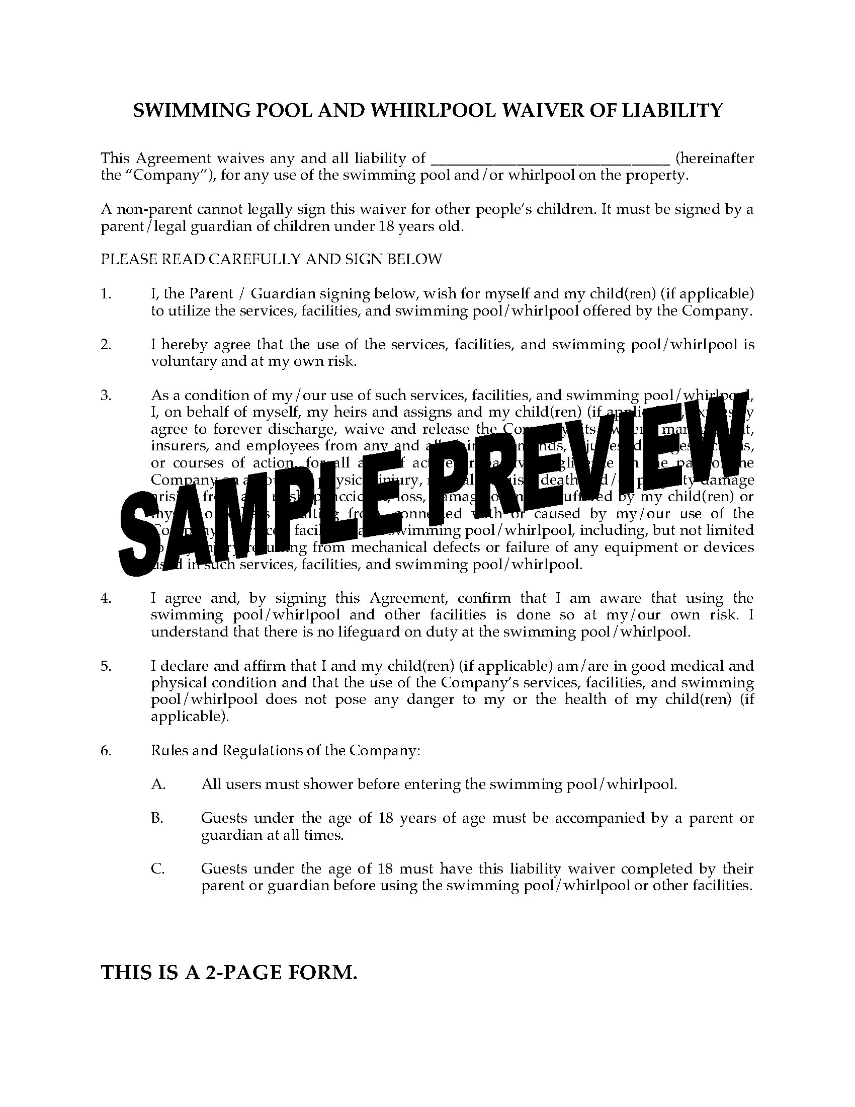 Swimming Pool And Whirlpool Waiver Of Liability Form
