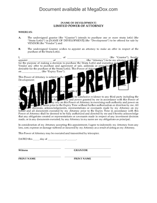 Picture of Power of Attorney for Strata Lot Purchase | Canada