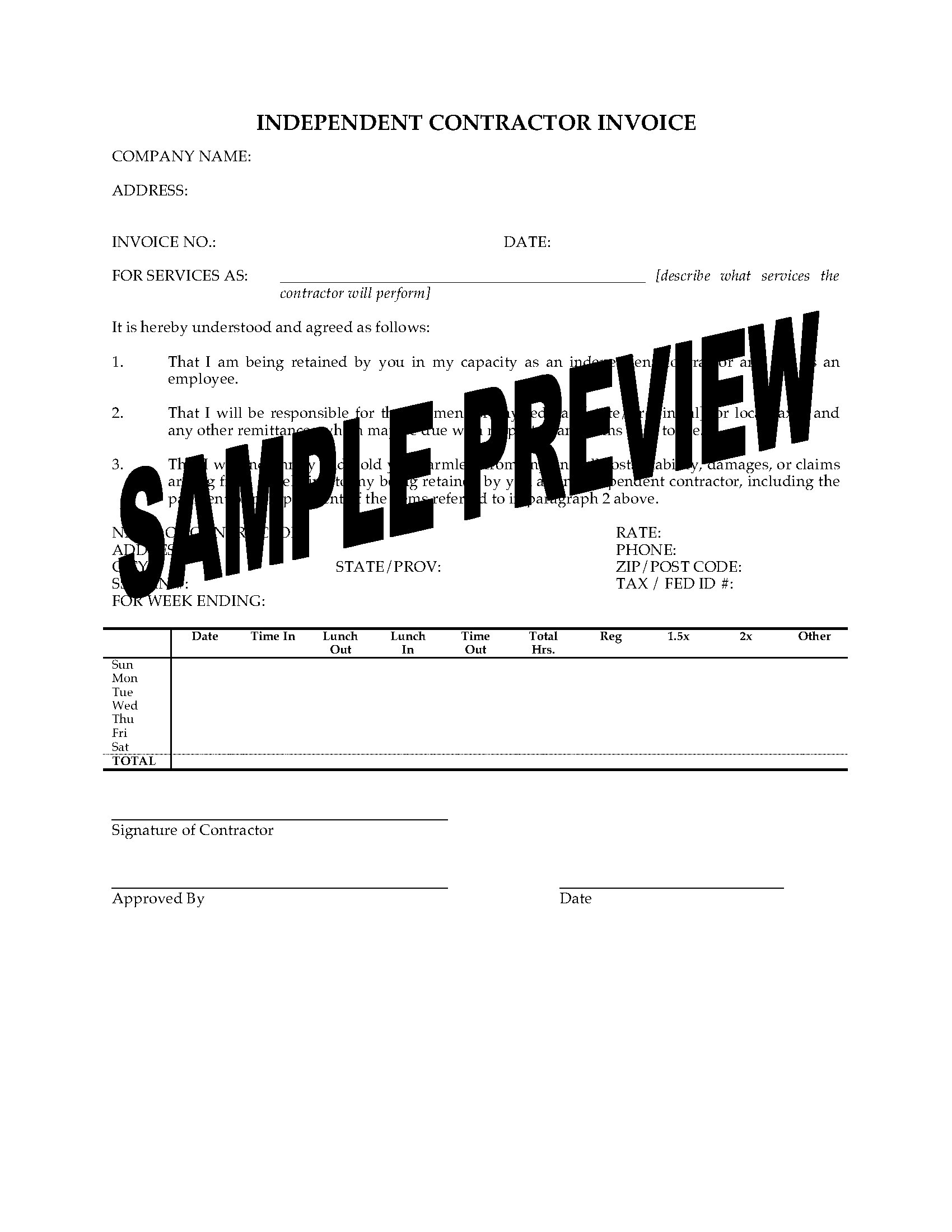 Independent Contractor Invoice Form Legal Forms And Business