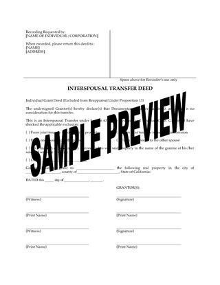 Picture of California Interspousal Transfer Deed