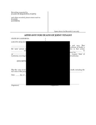 Picture of California Affidavit of Death of Joint Tenant