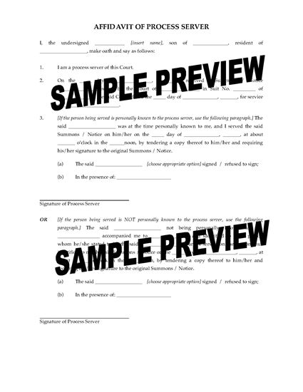 Picture of Affidavit of Process Server | India