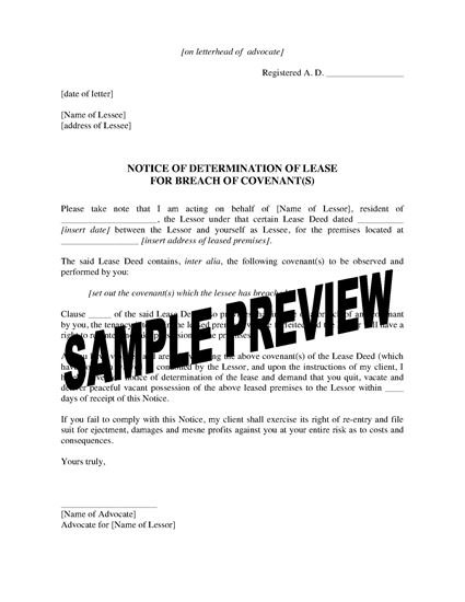 Picture of Notice of Determination of Lease for Breach   India