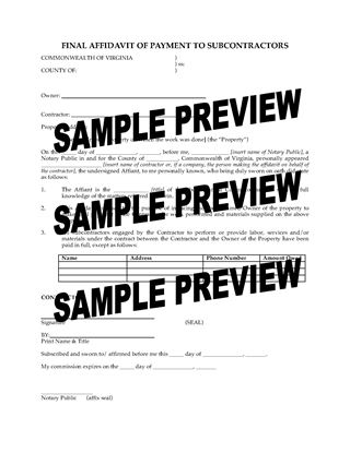 Picture of Virginia Final Affidavit of Payment