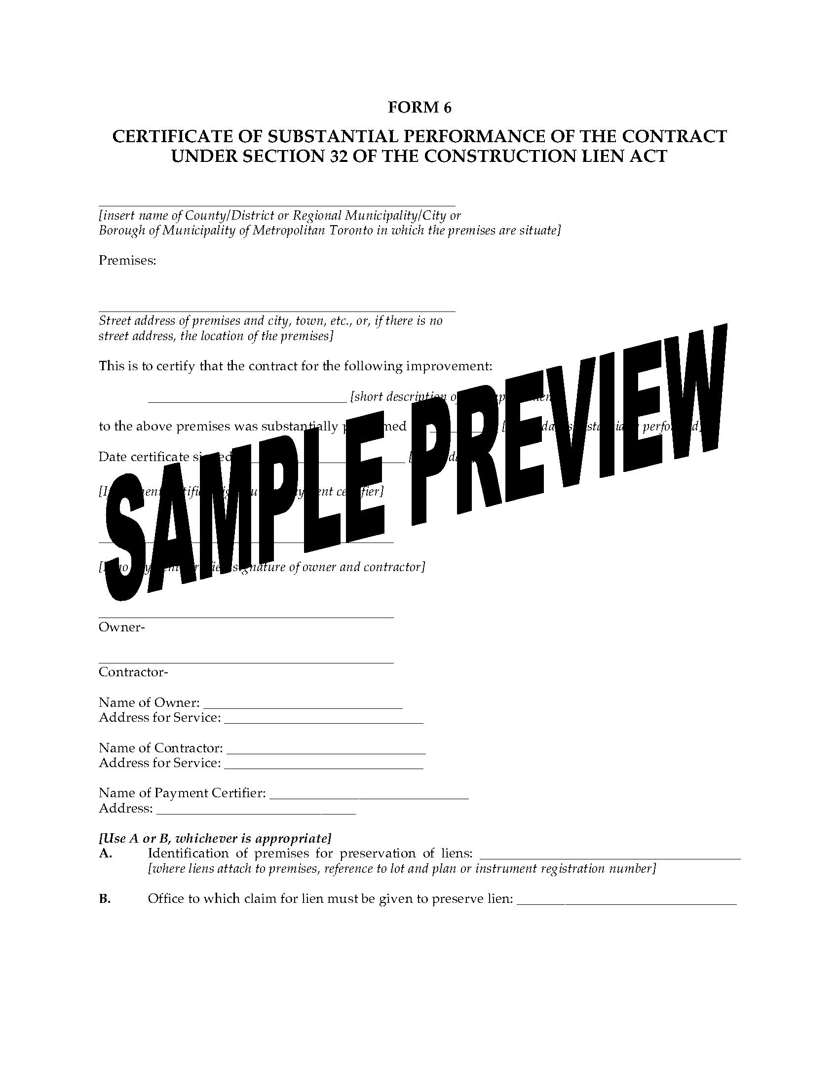 Certificate Of Service Template Ontario Certificate Of Substantial  Performance Of Contract Legal