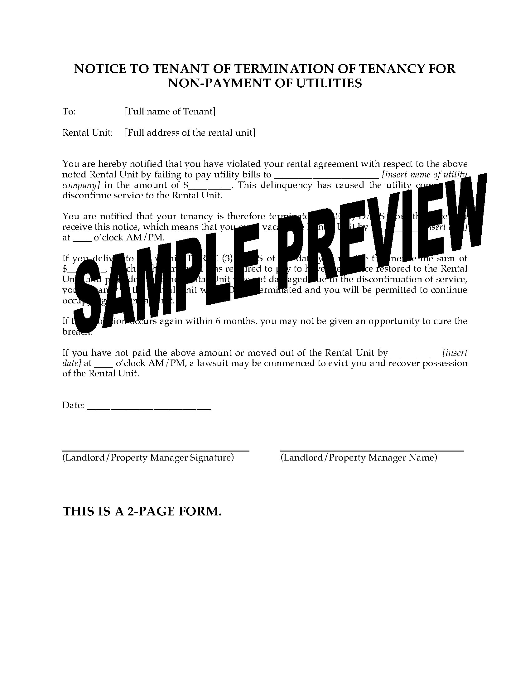 Alaska Notice of Termination of Tenancy for Non-Payment of Utilities