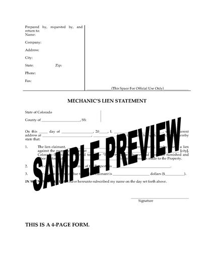 Picture of Colorado Mechanic's Lien Statement - Individual