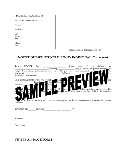 Picture of Colorado Notice of Intent to File Lien - Individual