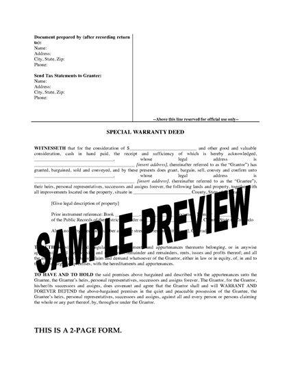Picture of Colorado Special Warranty Deed