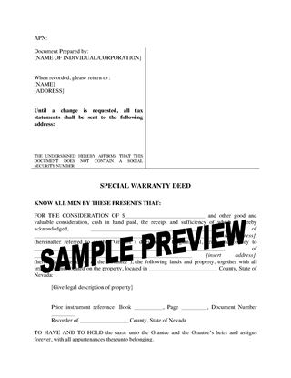 Picture of Nevada Special Warranty Deed