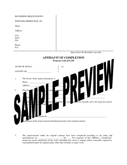 Picture of Texas Affidavit of Completion